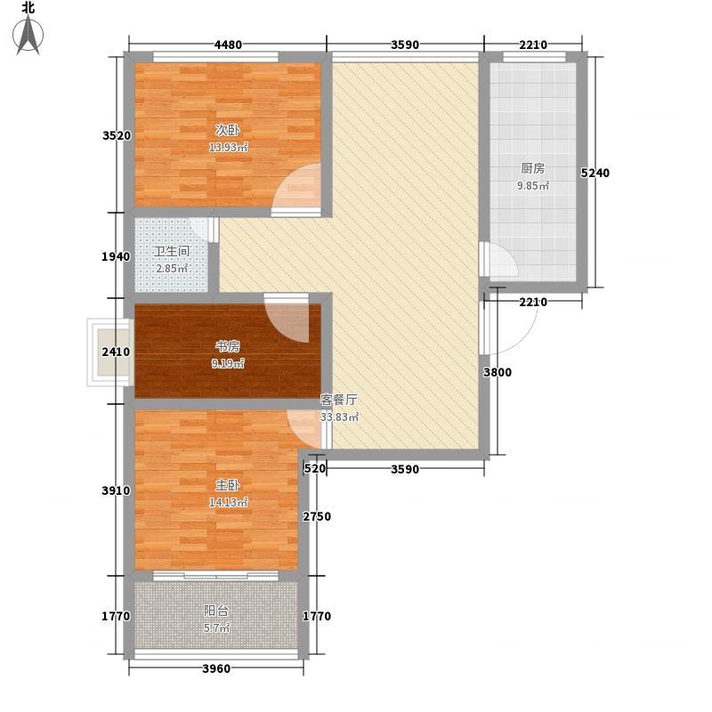 北桥・山景苑128.00㎡一期6#、7#楼标准层B2户型3室2厅1卫1厨