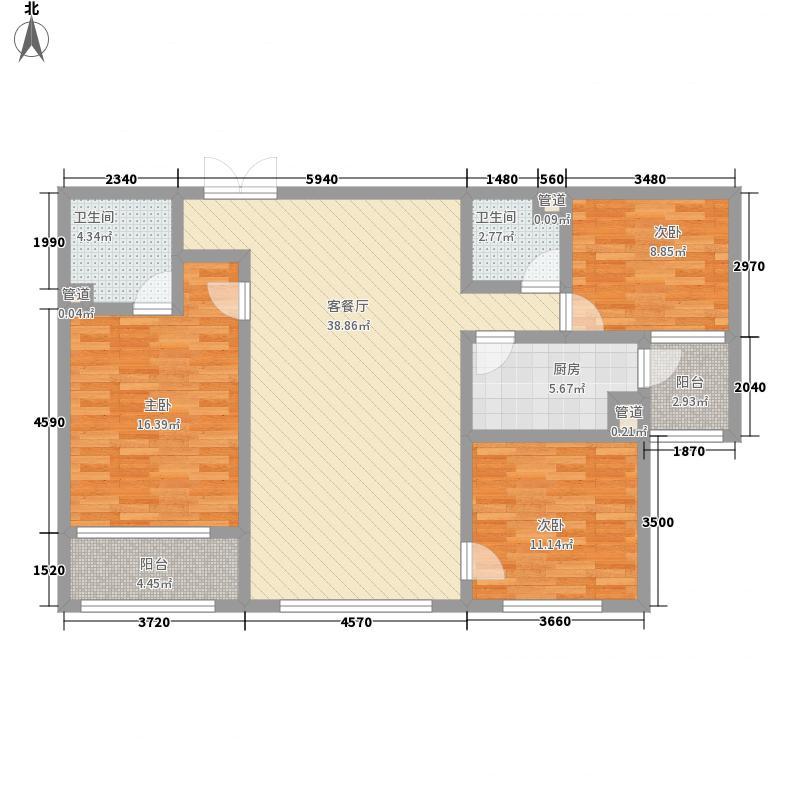 文翔花园138.60㎡B-D户型3室2厅2卫1厨