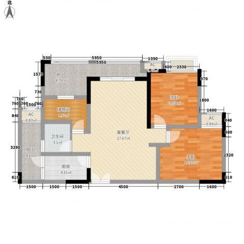伟豪创世纪2室1厅1卫1厨99.00㎡户型图