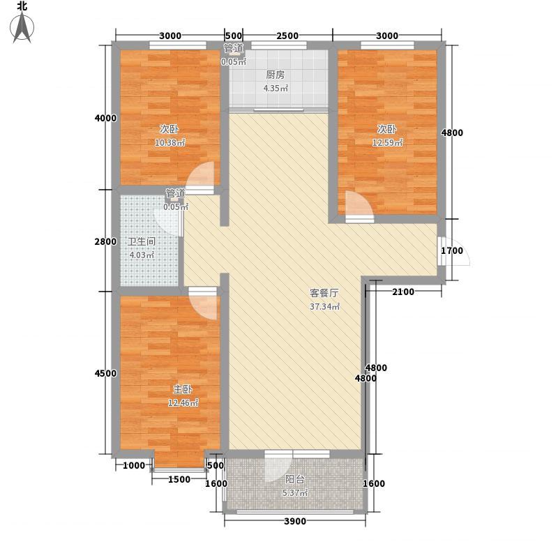 龙城金帝园11.60㎡B1户型3室2厅1卫