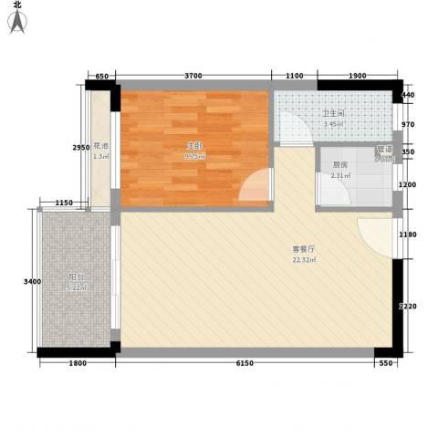丽都花园1室1厅1卫1厨50.58㎡户型图