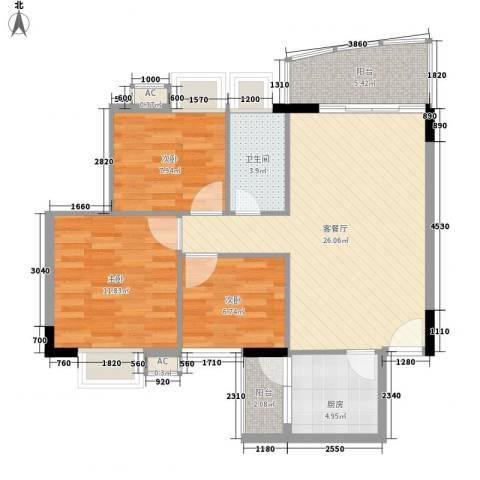 丽都花园3室1厅1卫1厨78.35㎡户型图