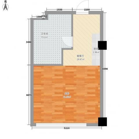 北美时光1厅1卫0厨54.00㎡户型图