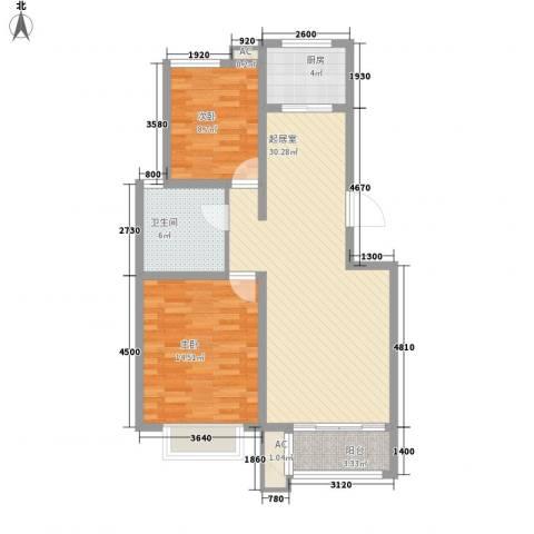 东方名都2室0厅1卫1厨88.00㎡户型图
