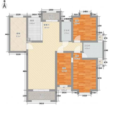 嘉泰・盛世闲庭3室1厅2卫1厨123.00㎡户型图