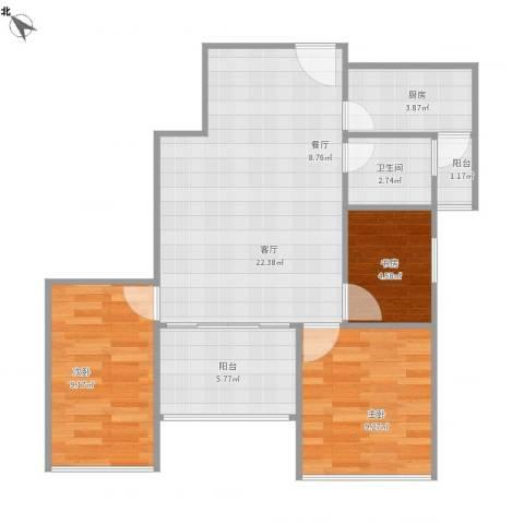 福保桂花苑3室1厅1卫1厨80.00㎡户型图