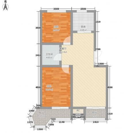 金色港湾2室1厅1卫1厨96.00㎡户型图