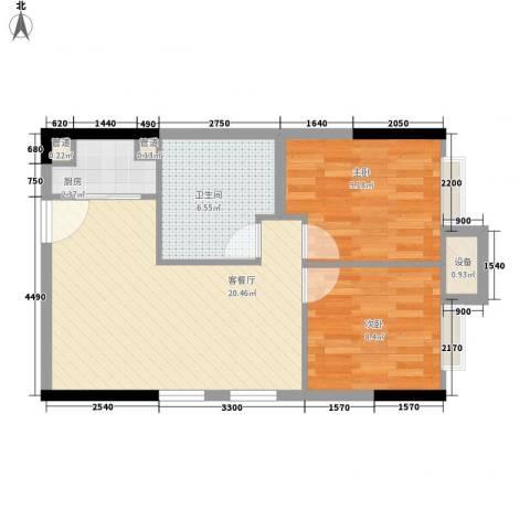 大竹林金竹苑2室1厅1卫1厨48.25㎡户型图