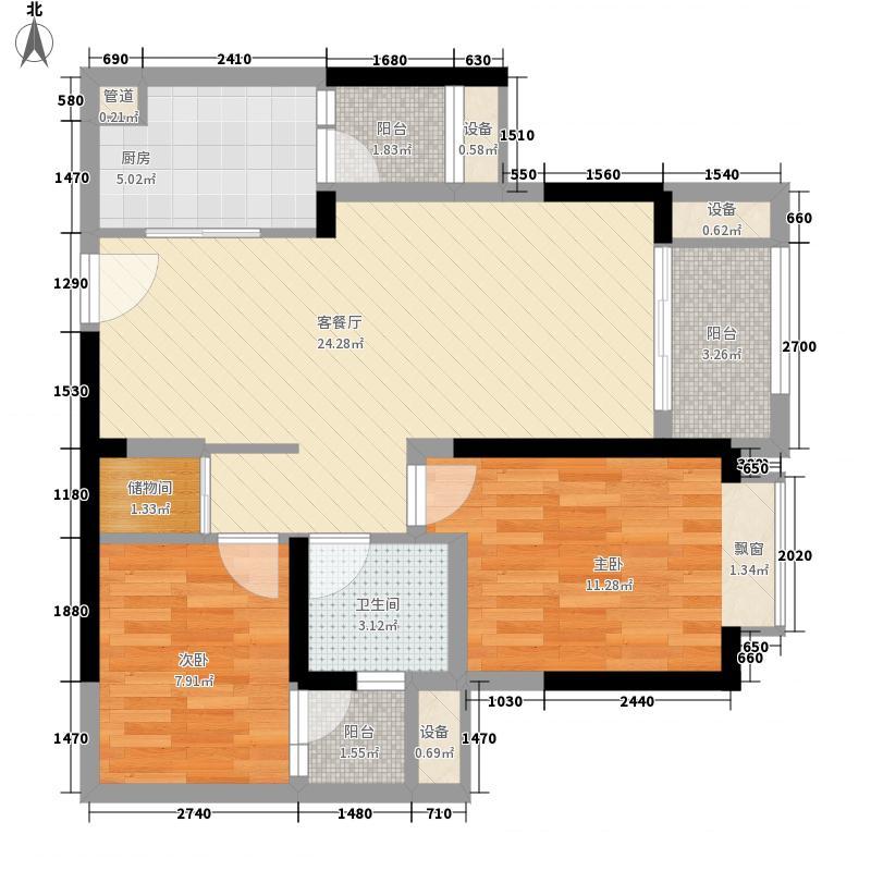 金茂珑悦64.31㎡二期9/8号楼标准层1/8号户型