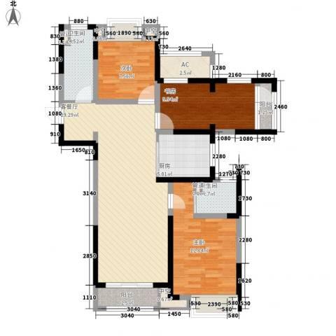 华侨城欢乐海岸3室1厅2卫1厨118.00㎡户型图