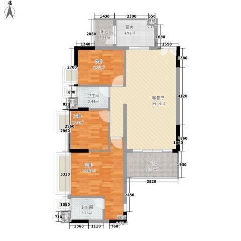 布宜诺斯3室1厅2卫1厨116.00㎡户型图