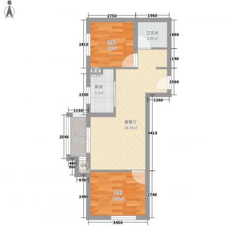 上上城青年新城2室1厅1卫1厨61.00㎡户型图