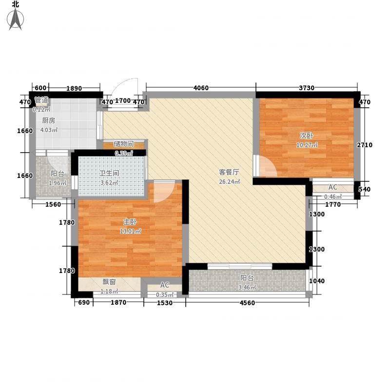 凤鸣缇香1.80㎡一期22号楼标准层B4户型2室2厅1卫1厨
