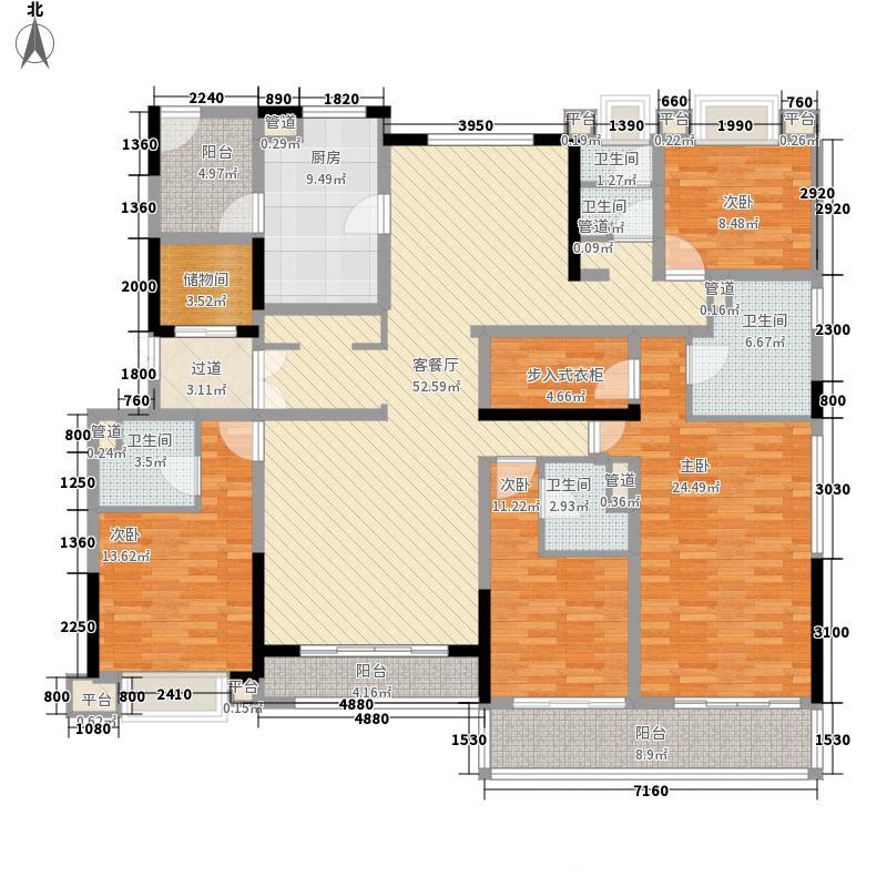 绿地中心泊珑湾245.00㎡二期37#楼14-27层K户型4室2厅4卫1厨