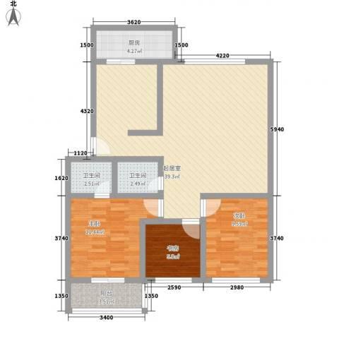 大唐花园3室0厅2卫1厨115.00㎡户型图