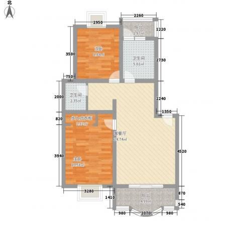 东方滨港园2室1厅2卫0厨90.00㎡户型图