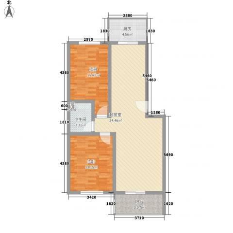 大唐花园2室0厅1卫1厨91.00㎡户型图