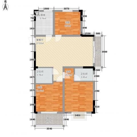 宝兴花园3室1厅2卫1厨118.00㎡户型图