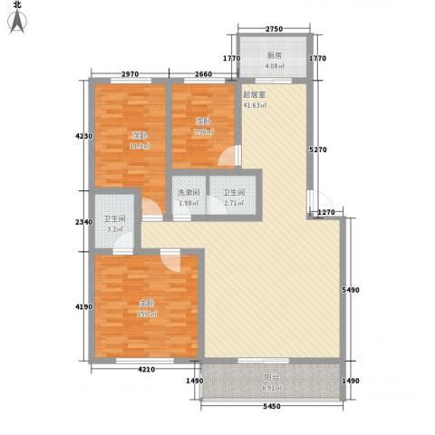 大唐花园3室0厅2卫1厨125.00㎡户型图