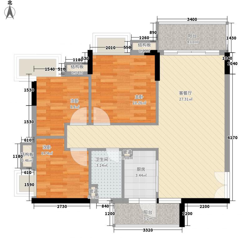布宜诺斯94.85㎡A2栋2层-14层03面积9485m户型