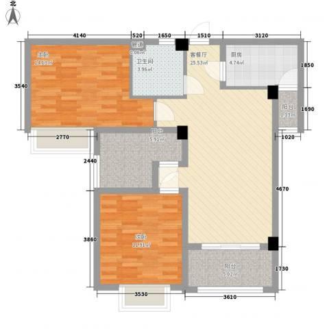 上河城2室1厅1卫1厨92.00㎡户型图