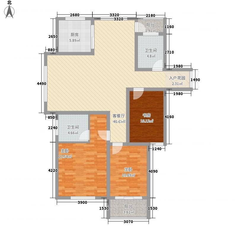 实力粼湖居147.50㎡11#楼C1户型3室2厅2卫1厨