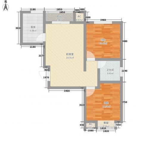 新园中区2室0厅1卫1厨80.00㎡户型图