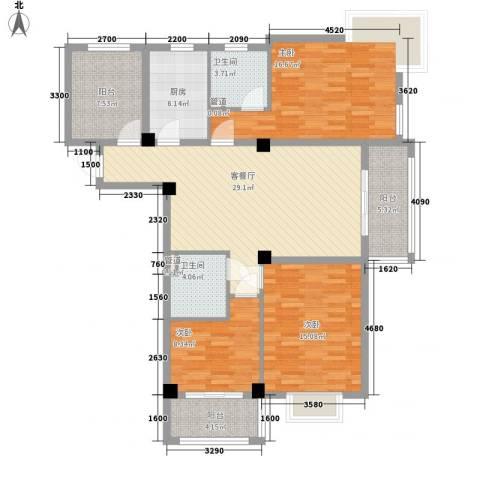 上河城3室1厅2卫1厨126.00㎡户型图