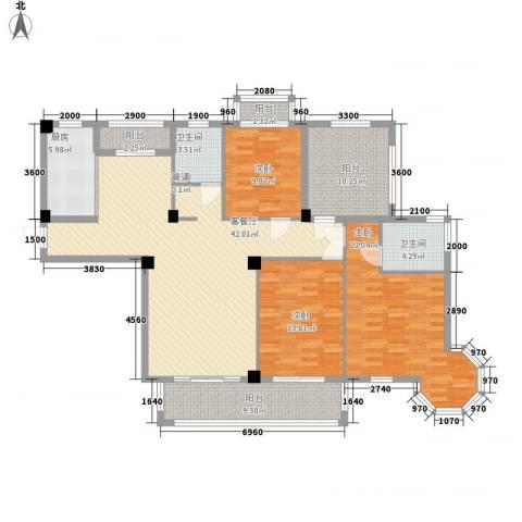 上河城3室1厅2卫1厨145.00㎡户型图