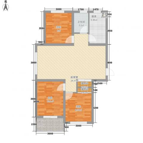 泰安盛世3室0厅1卫1厨70.77㎡户型图