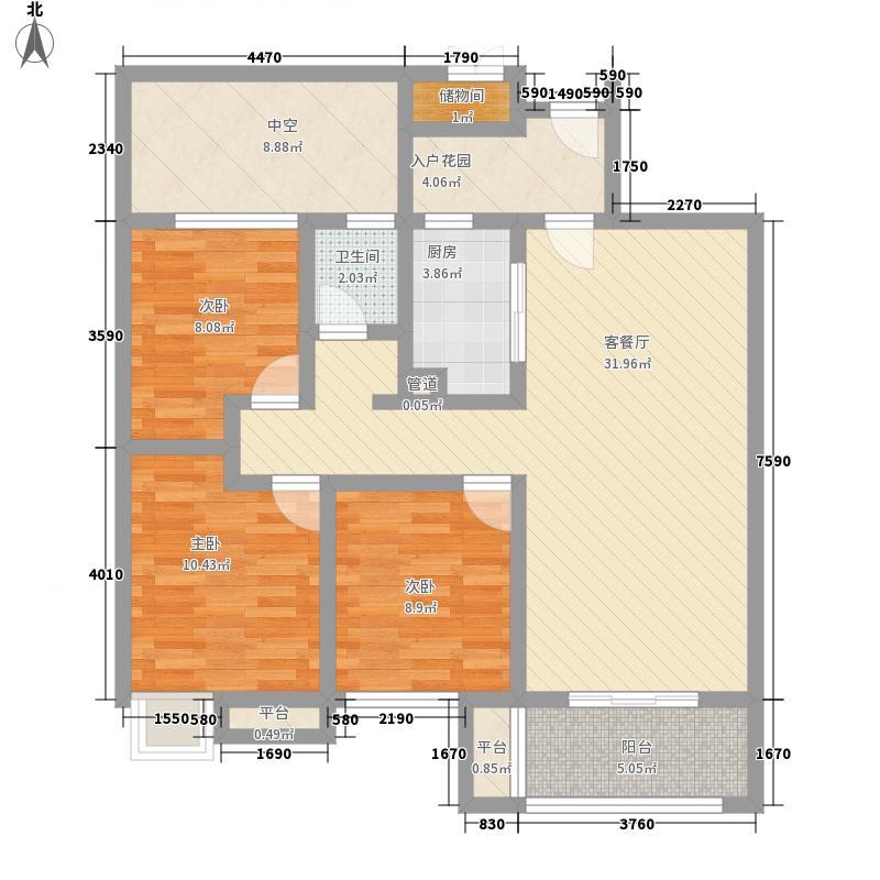 万盛凤凰城16.00㎡B3户型3室2厅1卫1厨