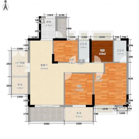 布宜诺斯4室1厅2卫1厨143.00㎡户型图