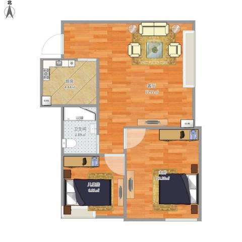 上东大道2室1厅1卫1厨66.00㎡户型图