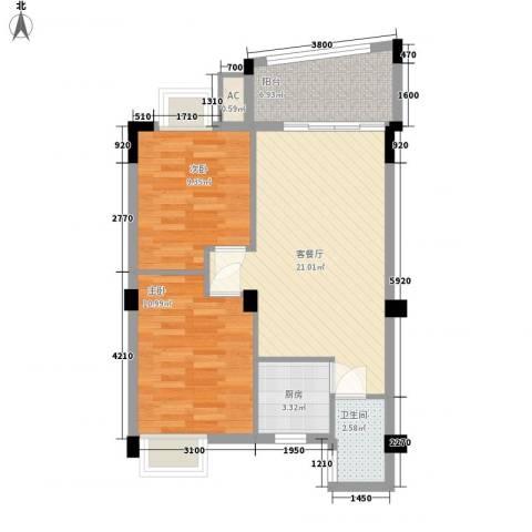 泰景花园2室1厅1卫1厨76.00㎡户型图