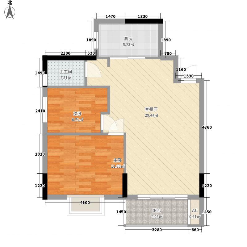 金爵逸品4.35㎡G户型2室2厅1卫1厨
