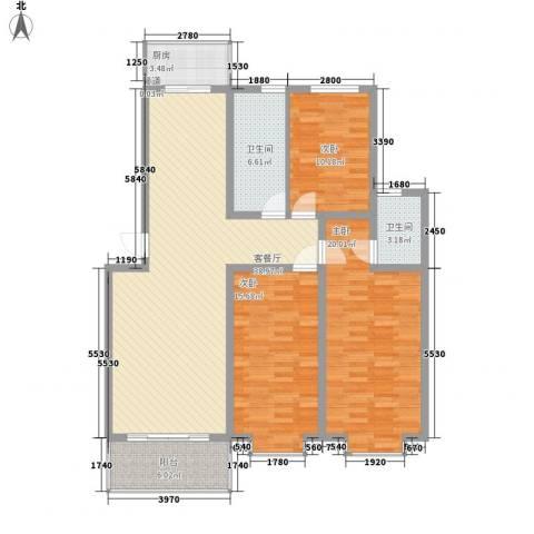文彦山庄3室1厅2卫1厨147.00㎡户型图