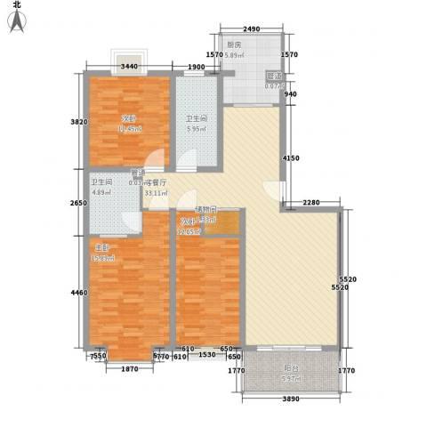 文彦山庄3室1厅2卫1厨137.00㎡户型图