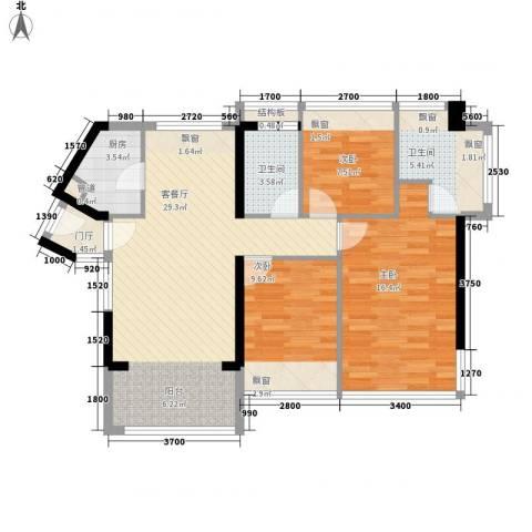 滨海御庭2期3室1厅2卫1厨110.00㎡户型图
