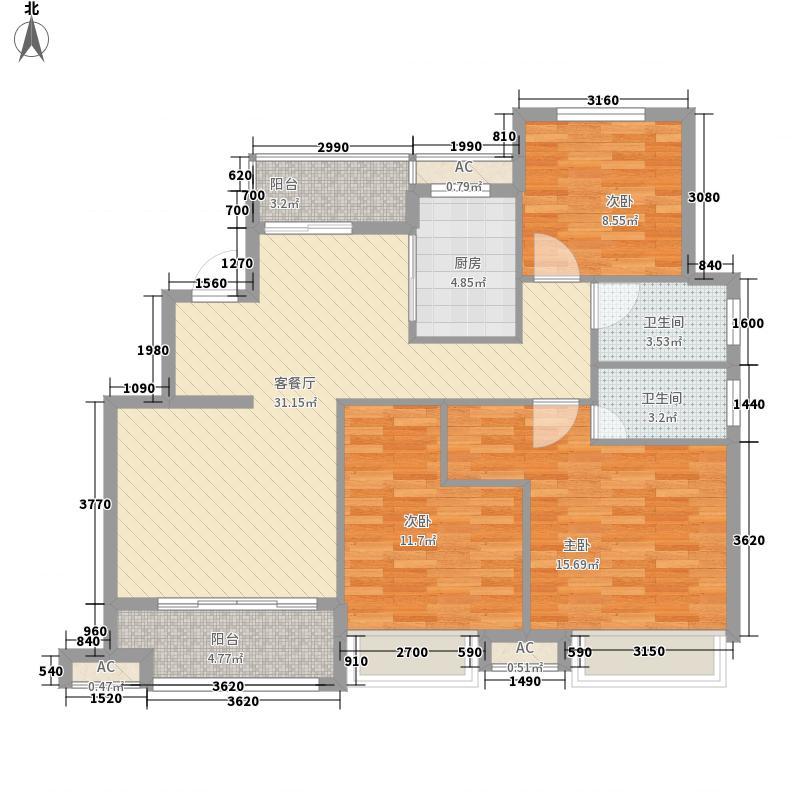 和昌中央城邦126.42㎡和昌中央城邦户型图一期洋房D1户型3室2厅2卫1厨户型3室2厅2卫1厨