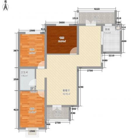 城市花园3室1厅1卫1厨118.00㎡户型图