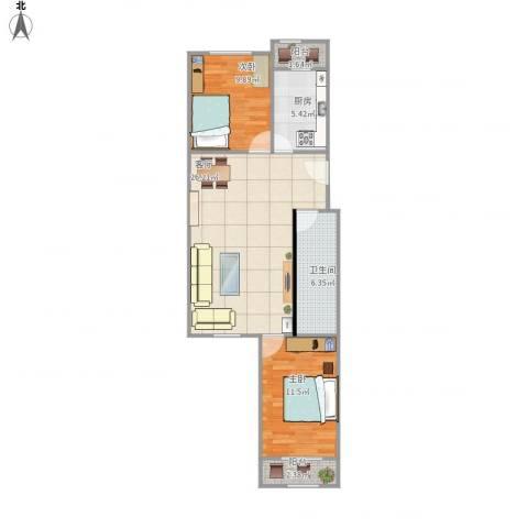 风雅园三区2室1厅1卫1厨97.00㎡户型图