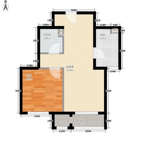 未来城1室0厅1卫1厨56.00㎡户型图