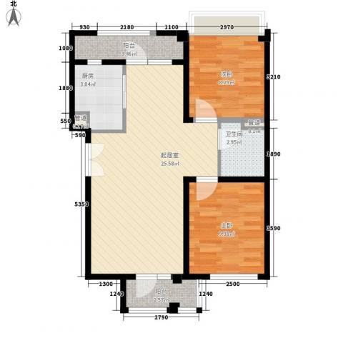 未来城2室0厅1卫1厨81.00㎡户型图