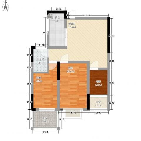 宝兴花园3室1厅1卫1厨77.00㎡户型图