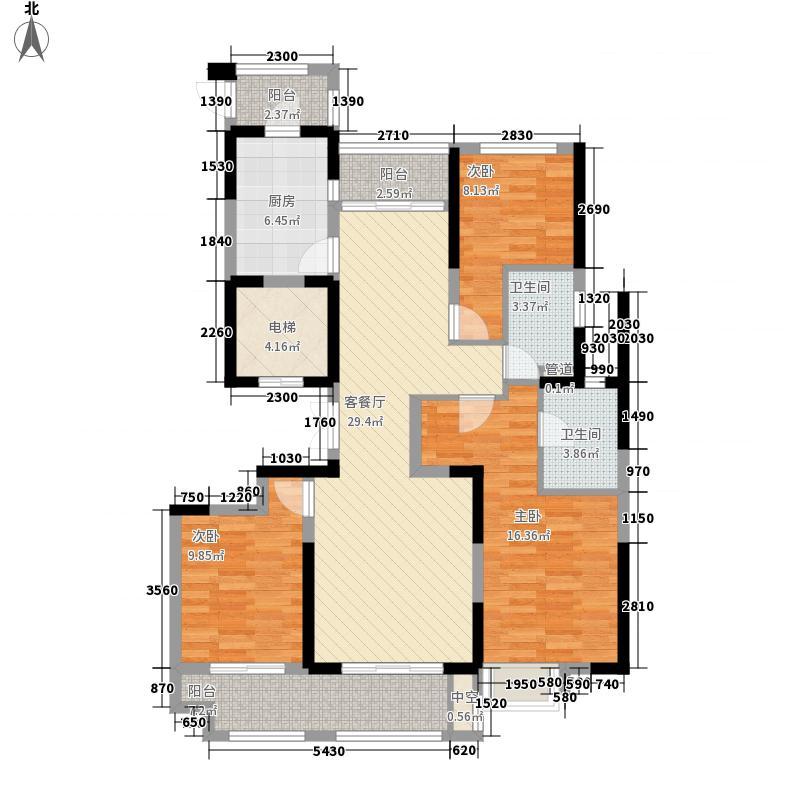华侨城欢乐海岸138.00㎡C3户型3室2厅2卫1厨