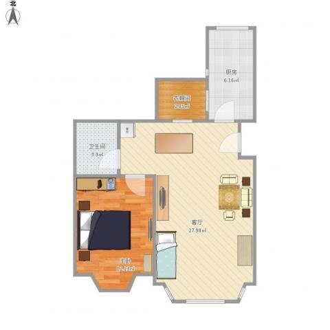 城南嘉园1室1厅1卫1厨70.00㎡户型图
