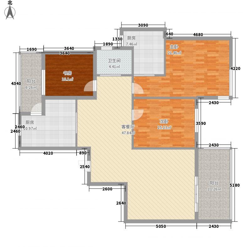 湖景花园187.00㎡湖景花园3室户型3室