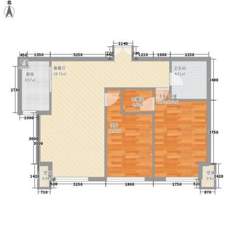 北京城建徜徉集2室1厅1卫1厨90.00㎡户型图