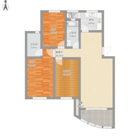 上海莘城2室1厅2卫1厨126.00㎡户型图
