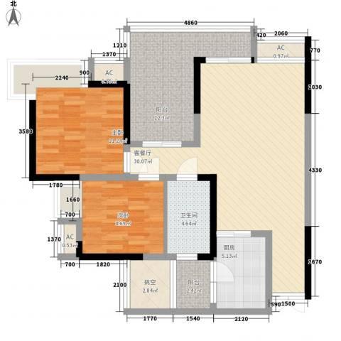 奥林匹克花园红城2室1厅1卫1厨117.00㎡户型图